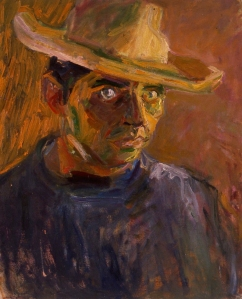 Wolf Kahn, Self Portrait with Sombrero, 1954, 22 x 17 inches, Oil on Canvas, Collection of the Artist. Used with permission.